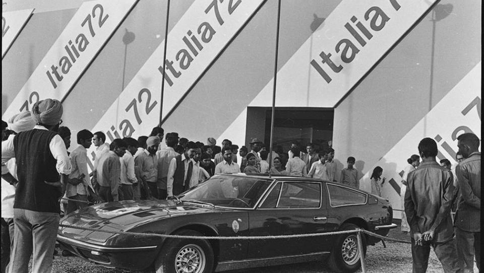 Caron displayed at the Italian Pavilion during Asia 72 at Pragati Maidan 07 November 1972. According to commerce ministry, the project is envisaged to become a high-tech connection between the city, its people and the global community. The centre has been designed to ensure clarity of function and ease of circulation. (KK Chawla/HT File photo)