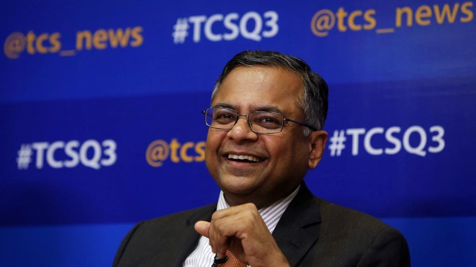 Tata Consultancy Services (TCS) chief executive N Chandrasekaran speaks during a news conference in Mumbai.