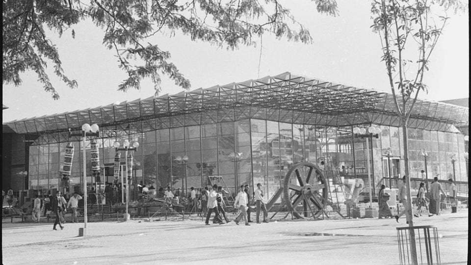 In this photo taken on 05 November 1972 shows Delhi Pavilion at Pragati Maidan during the first exhibition named , Asia '72. It is expected to compete with world's best exhibition complexes like Crystal Palace in London, Biosphere in Montreal and Eiffel Tower in Paris. (Babu Ram/HT File Photo)