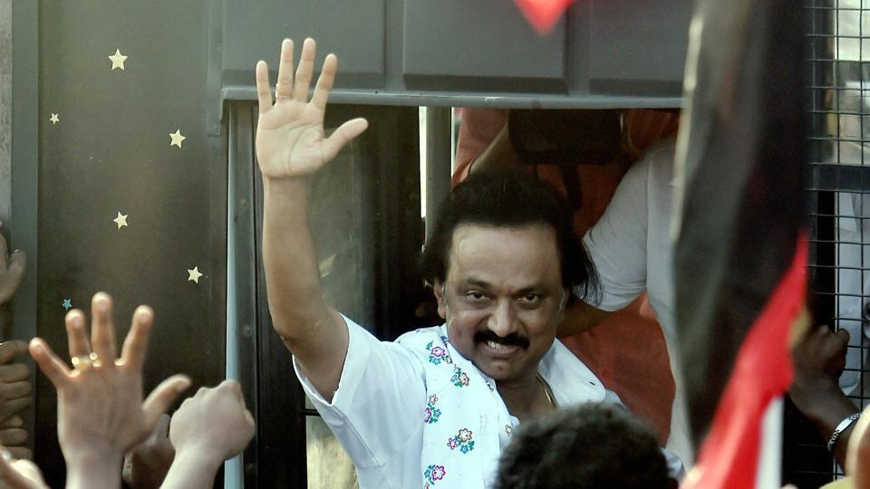 DMK the main opposition party in State Assembly and Working President MK Stalin was detained after staging a protest near Mahatma Gandhi statue in Radhakrishnan Salai in Chennai on Saturday.