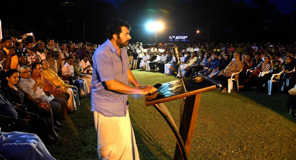 Actor Mammootty speaks at a special convention organised by the film fraternity in Kochi on Sunday to express solidarity with the actress who was harassed.