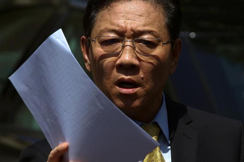 North Korean ambassador to Malaysia Kang Chol speaks at a news conference at the North Korean embassy in Kuala Lumpur on Monday.