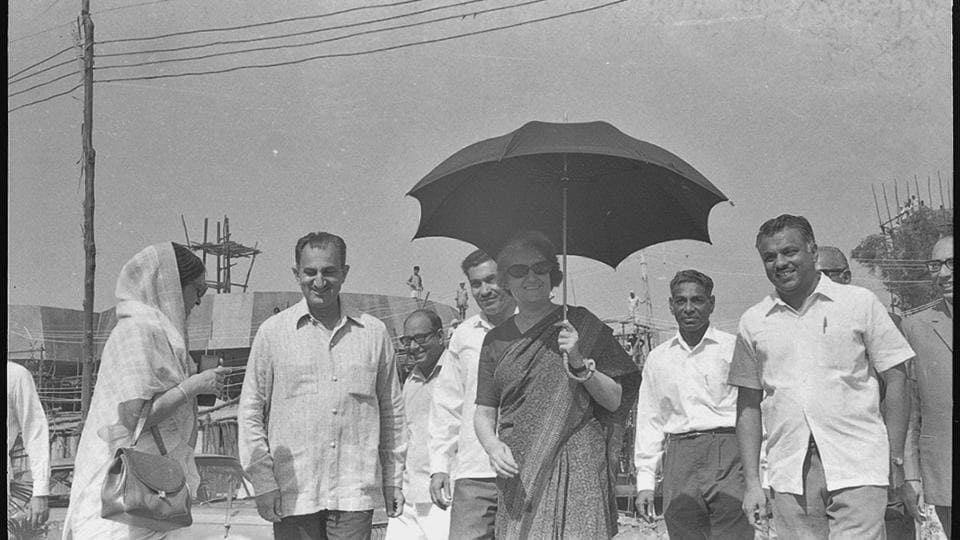 In this photo taken on 15 September 1972  shows Former Prime Minister of India arriving at an exhibition at Mathura Road. The IECC, a flagship project of India Trade Promotion Organisation under the commerce ministry, is likely to open with G20 Summit in early 2019. (Babu Ram/HT File Photo)