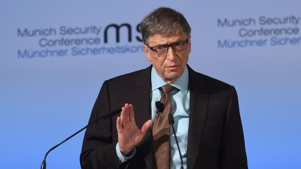 Microsoft founder Bill Gates speaks at the 53rd Munich Security Conference (MSC) at the Bayerischer Hof hotel in Munich.