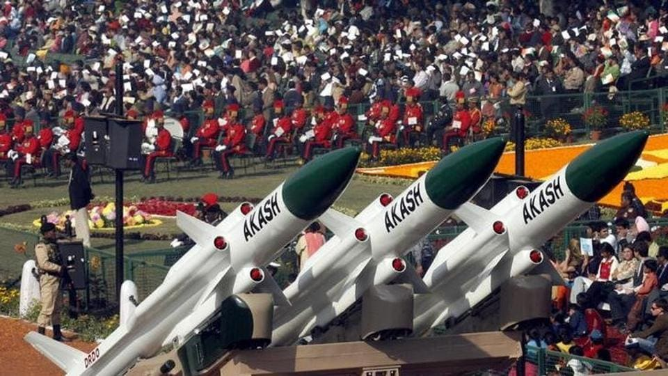 Akash missiles, mounted on a truck, are displayed during the Republic Day parade in New Delhi.