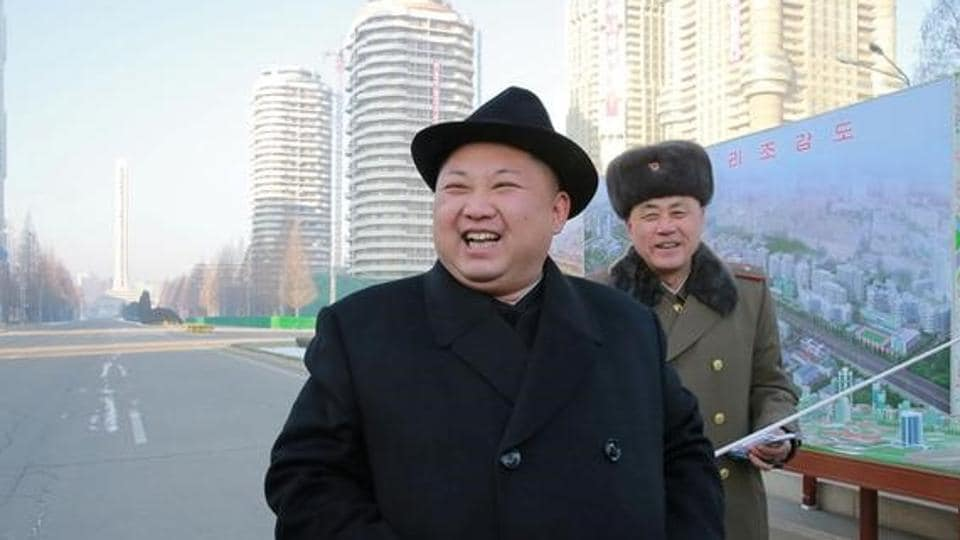 North Korean leader Kim Jong Un inspects the construction site of Ryomyong Street, in this undated photo released by North Korea's Korean Central News Agency (KCNA) on January 26.
