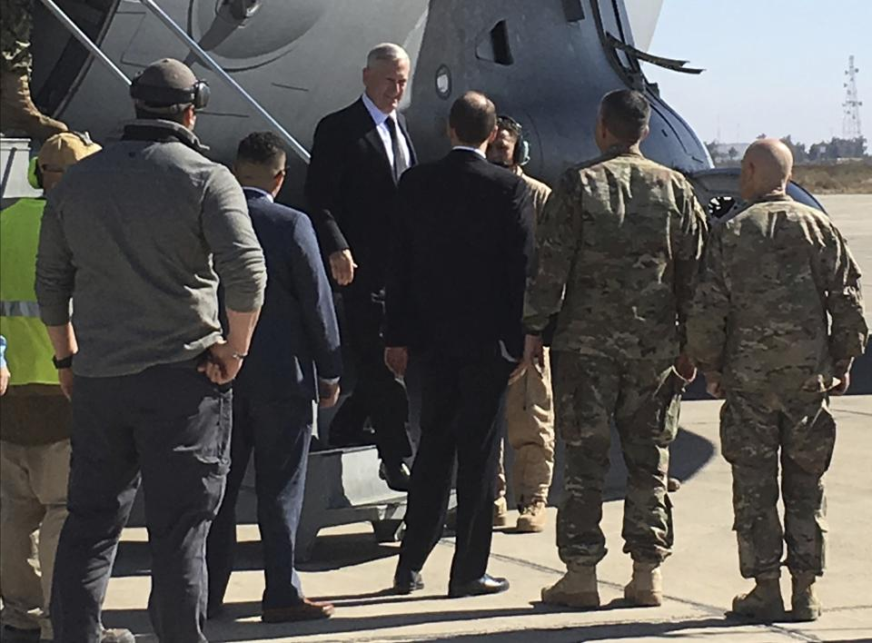 US secretary of defense Jim Mattis arrives at the Baghdad International Airport on an unannounced trip on Monday.