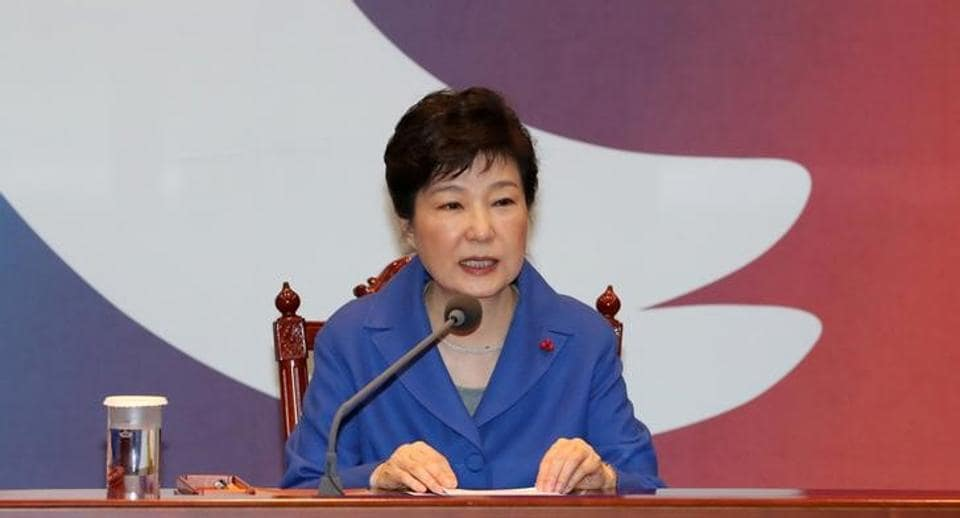 South Korean President Park Geun-hye speaks during a cabinet meeting in Seoul.