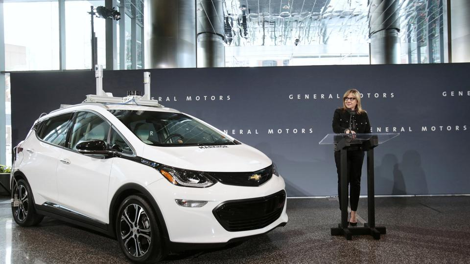 General Motors chairman and CEO Mary Barra announces that Chevrolet will begin testing a fleet of Bolt autonomous vehicles in Michigan during a news conference in Detroit, Michigan, US.