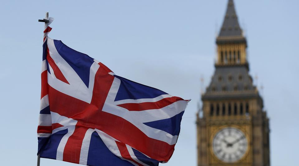 A Union flag flutters near the Houses of Parliament in London, Britain, on February 20, 2017.