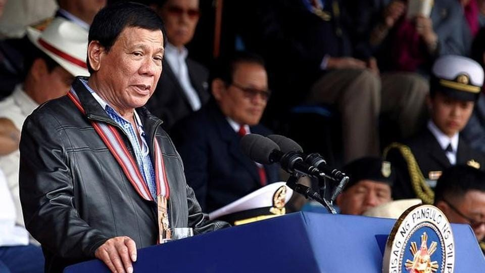 Philippine president Rodrigo Duterte delivers a speech during the Philippine Military Academy (PMA) alumni homecoming in Fort Del Pilar, Baguio city, Philippines, on February 18, 2017.