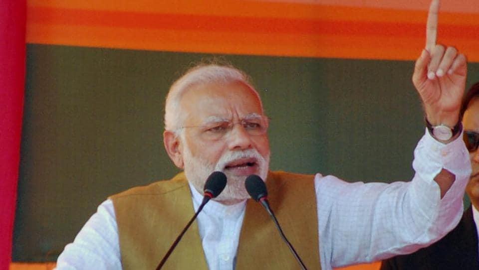 Prime Minister Narendra Modi addresses an election rally in Fatehpur, in Uttar Pradesh on Sunday.