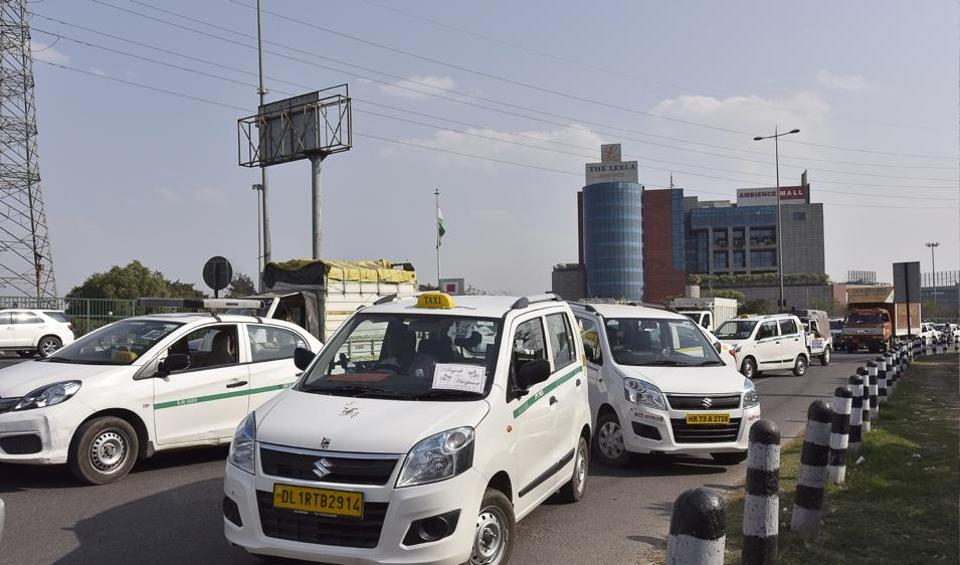 Grounded cabs outside the Ola office on the Delhi-Gurgaon border.