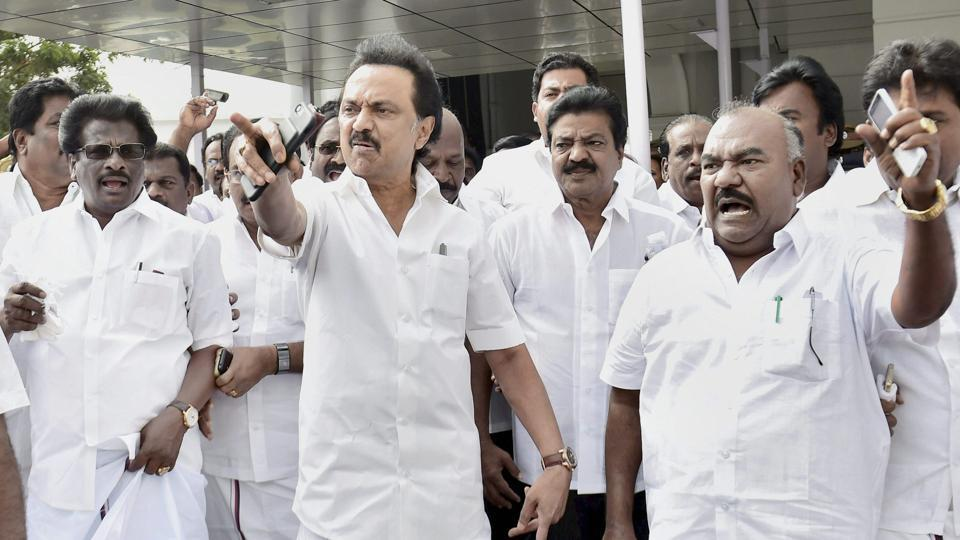 DMK working president M  Stalin along with his party MLAs at the Tamil Nadu Secretariat in Chennai on Saturday.