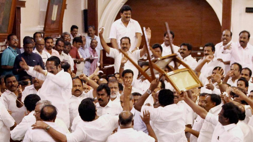 A scene from the Tamil Nadu assembly during the vote of confidence motion, Chennai, February 18