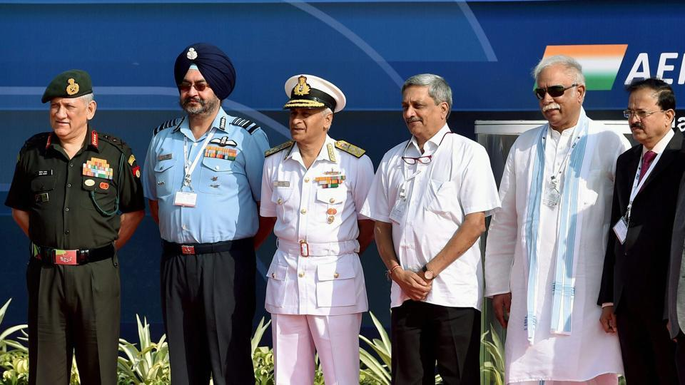 Defence Minister Manohar Parikkar, state defence minister Gajapati Raju, national security adviser Ajit Doval, Air Chief Marshal BS Dhanoa, Army chief Bipin Rawat, Navy chief Sunil Lanba  at the Aero India 2017 air show in Bengaluru.
