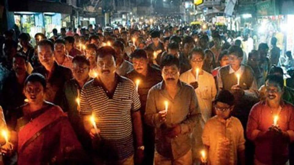 A rally near Petrapole on Indo-Bangladesh border on Monday night in which more than 1,000 persons took part.