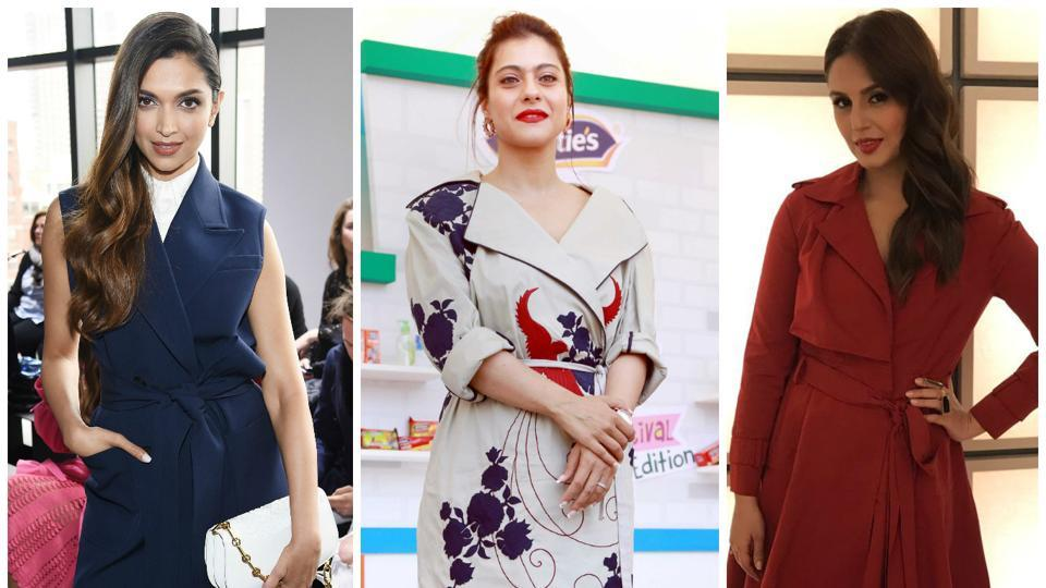 Trench dress,Kajol,Deepika Padukone