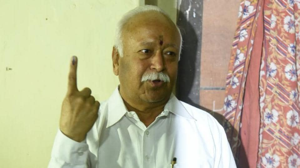 RSS chief Mohan Bhagwat at a polling booth in Nagpur. (sunny shende)