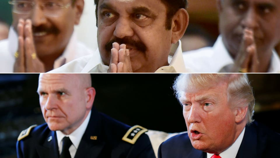 (Clockwise) E Palaniswami, Donald Trump and Lt Gen HR McMaster.