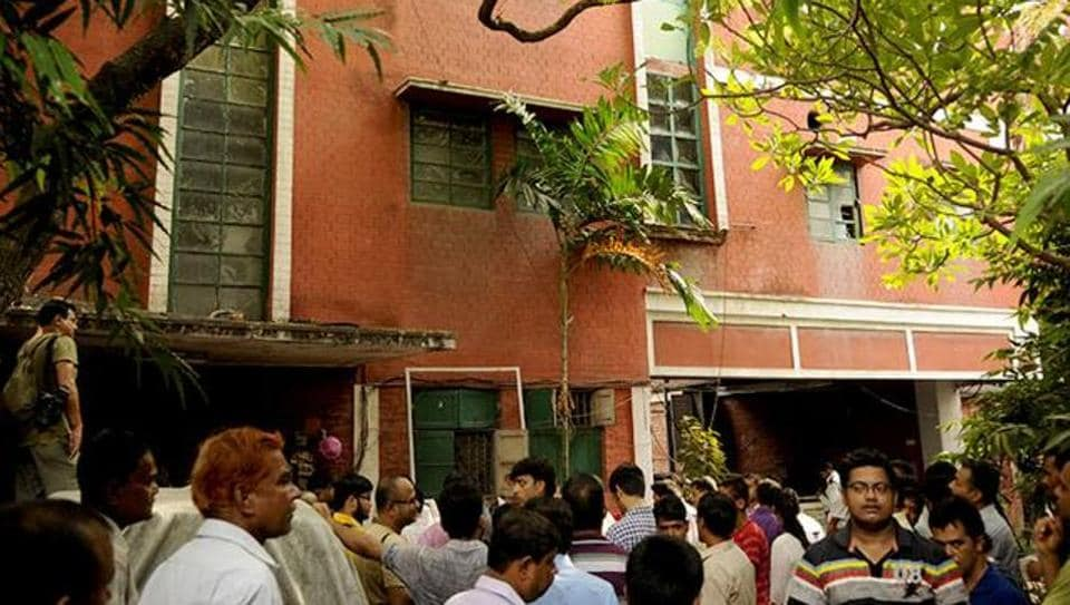 The house in Kolkata's Robinson Street where Partha's 77-year old father Arobindo De had committed suicide in June 10, 2015 by setting himself ablaze in his bathroom.