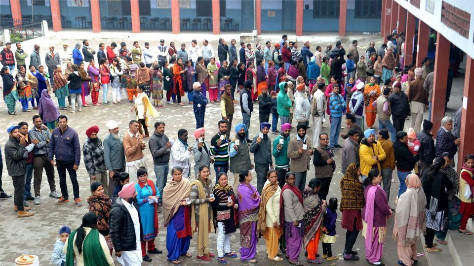 Jalandhar residents queue up to vote. Total seizure of cash, drugs, liquor and other items in the state during the 2017 assembly polls was about Rs 127 crore, an official spokesman of the State Election Commission said here.