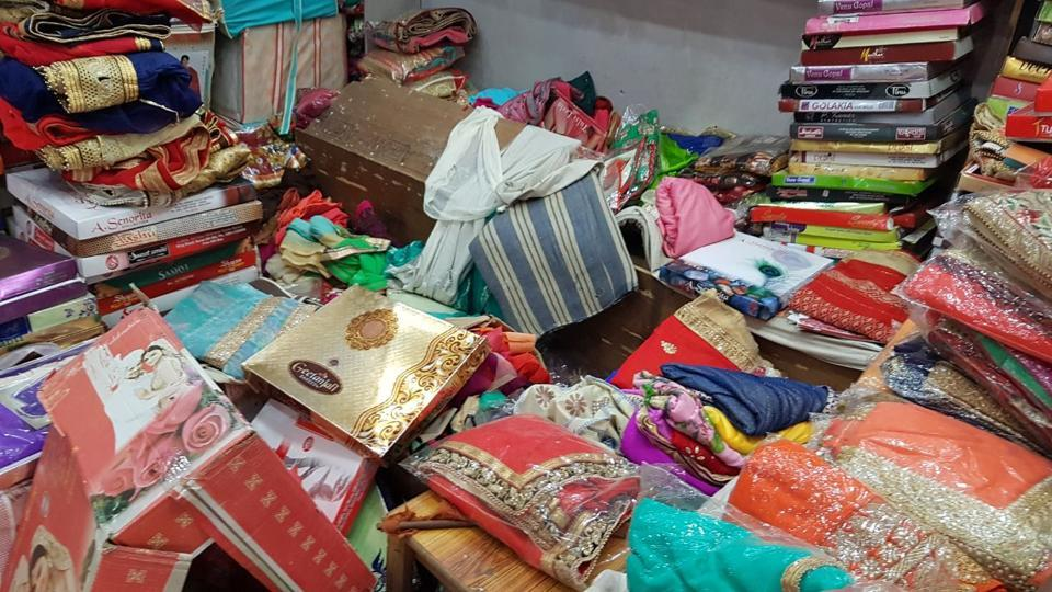 Burglars struck at several shops early on Monday and made off with cash, clothes and groceries worth lakhs.