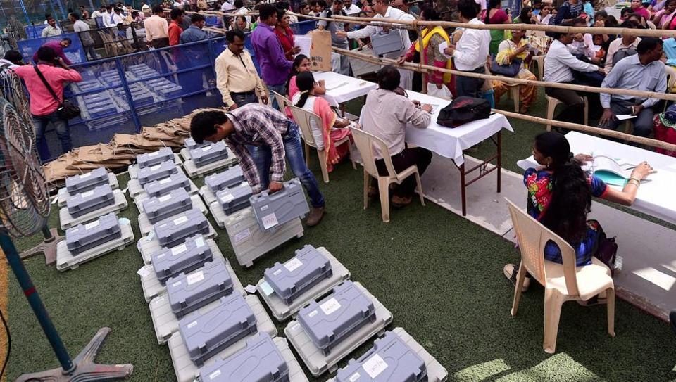Officials gear up for the Brihanmumbai Municipal Corporation election process in Mumbai on Monday.