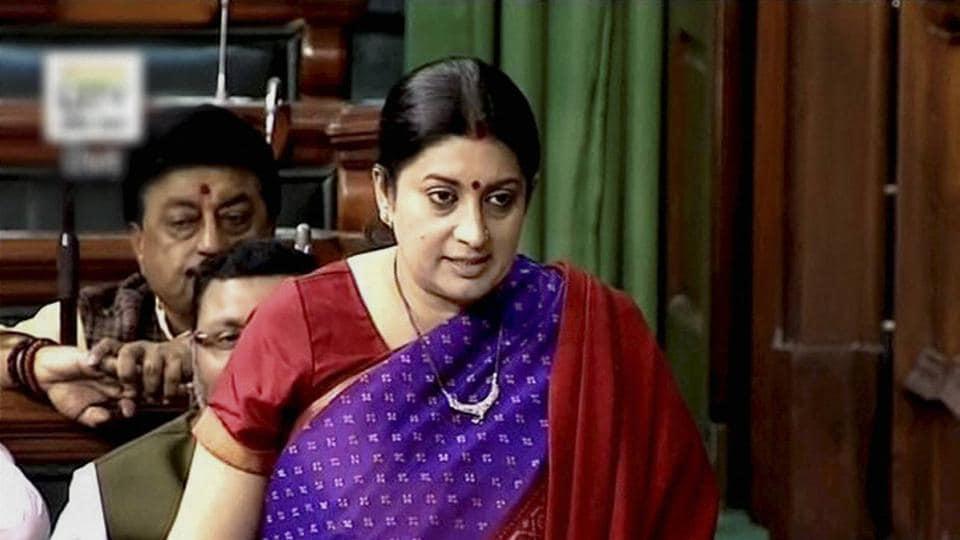 Textile minister Smriti Irani speaks in the Lok Sabha in New Delhi on Thursday.