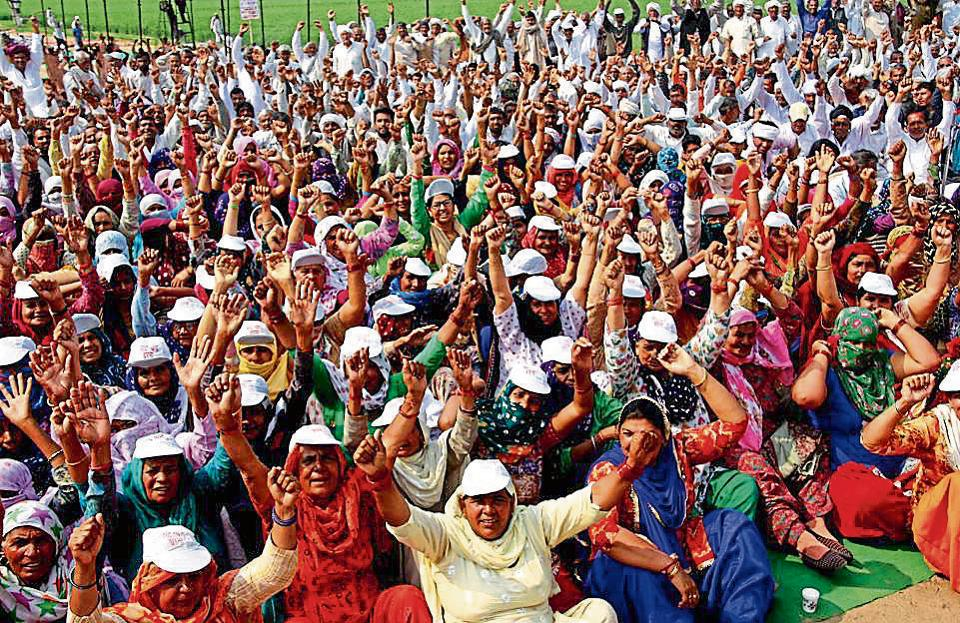 Jats protesting at Jassia village in Rohtak district on Tuesday.