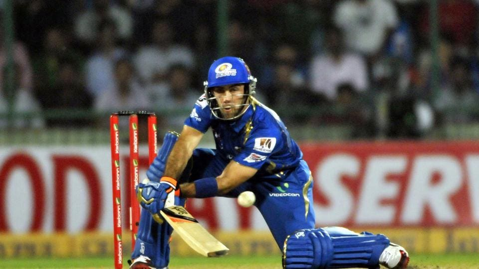 Mumbai Indians batsman Glenn Maxwell in action against Rajasthan Royals during Champions League twenty 20  when he was auctioned for 1 million dollars in  2013.