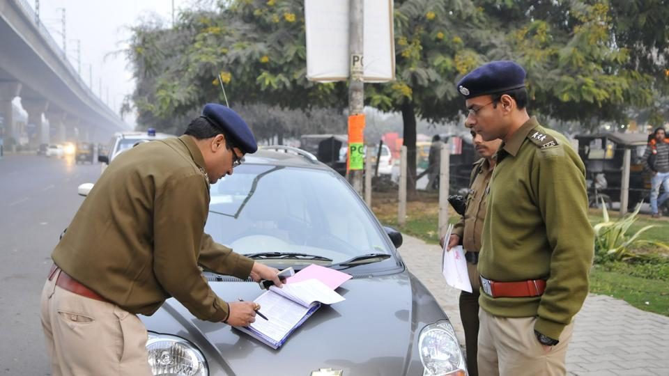 The policeman was thrashed allegedly over issuing a challan for the vehicle of a party worker.