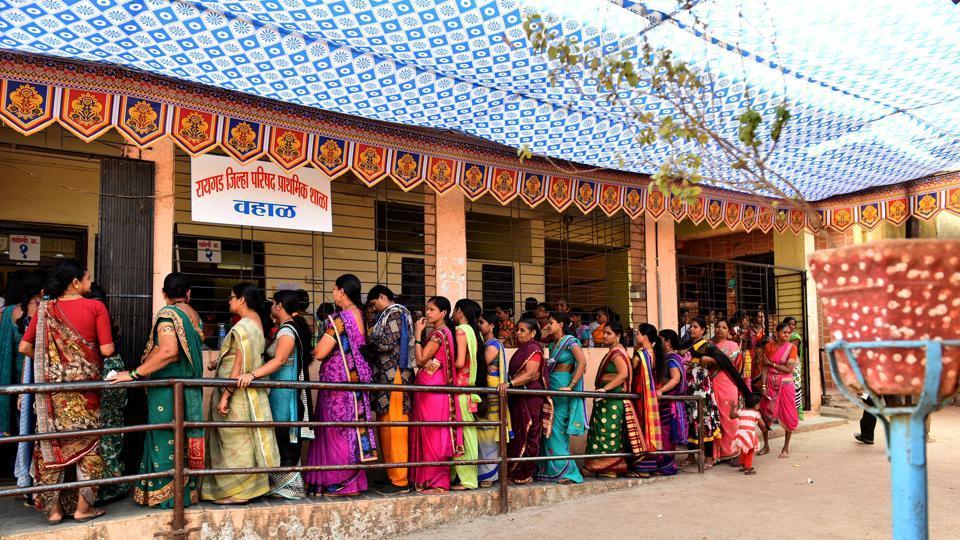 People cast their vote during Zilla Parishad & Panchayat Samiti elections at Wahal Village, Panvel in Navi Mumbai on Tuesday.