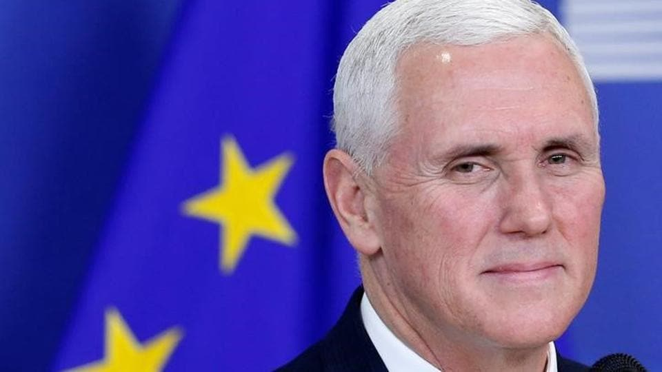 US Vice President Mike Pence briefs the media at the EU Commission headquarters in Brussels, Belgium, on February 20.