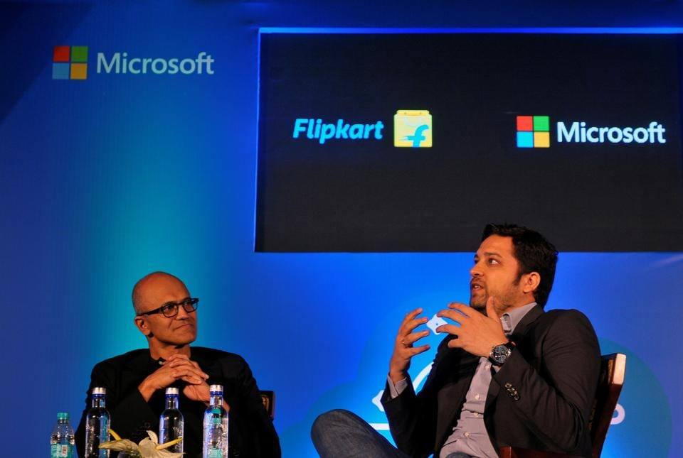 Microsoft Chief Executive Officer Satya Nadella and Flipkart Group Chief Executive Officer and co-founder Binny Bansal attend a news conference in Bengaluru
