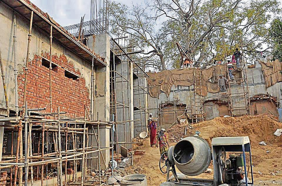 Construction work in full swing at Mansa Devi temple in Panchkula on Tuesday.