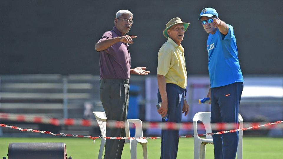 Anil Kumble, India coach, at a practice session in Pune  ahead of the first Test against Australia.