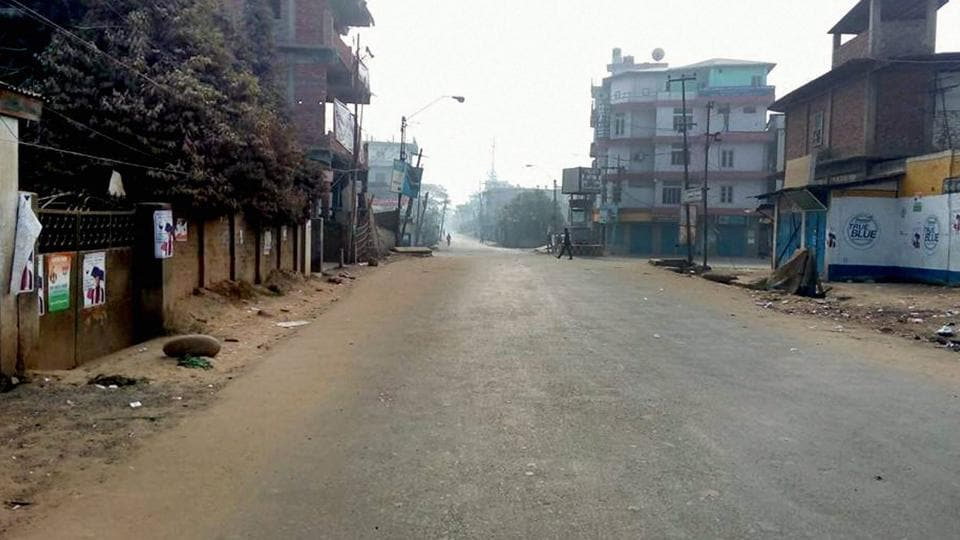 A deserted street during a bandh in Dimapur.