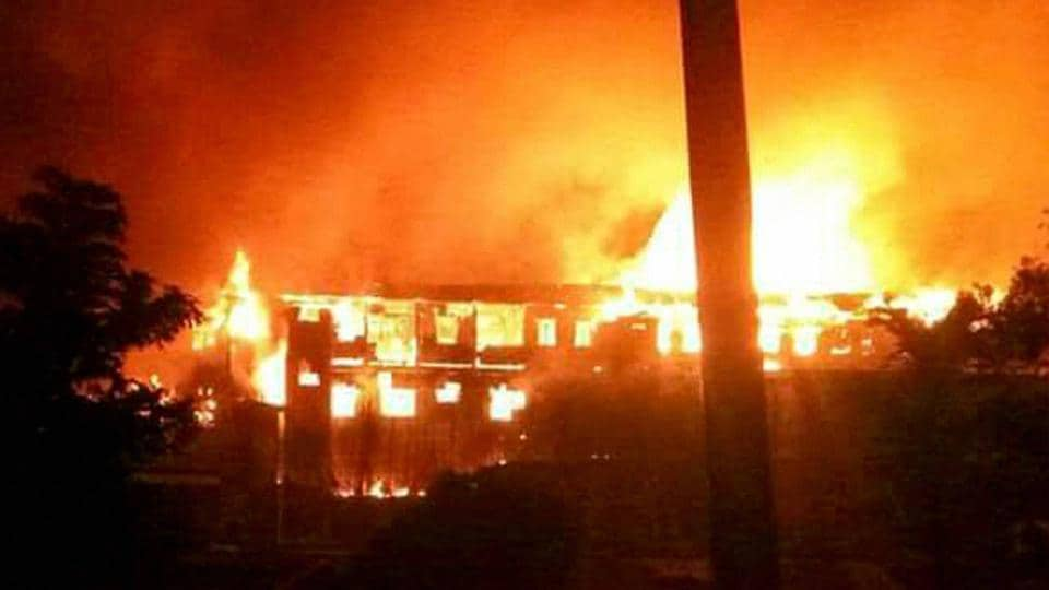 The Kohima Municipal Council office which was set ablaze by Naga tribals during their violent protest, in Kohima on February 3.