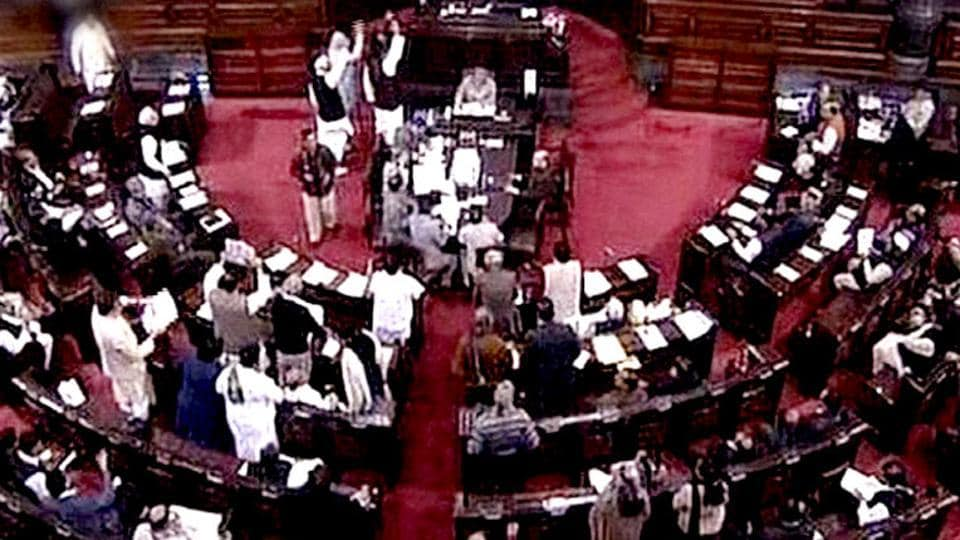 Members of Rajya Sabha during an ongoing session of parliament in New Delhi.
