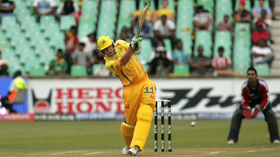 Chennai Super Kings player Andrew Flintoff plays a shot against Delhi Dare Devils at Durban, South Africa. He was auctioned for 1.55 million dollars in 2009. (Hindustan Times)