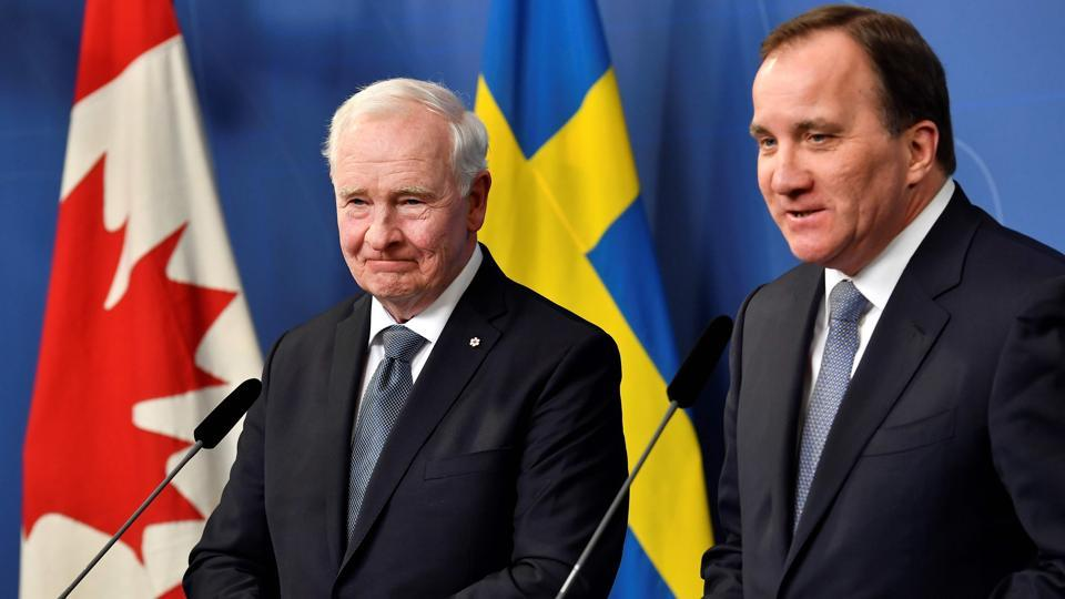 Sweden Prime Minister Stefan Lofven (R) and governor general of Canada David Johnston attend a press conference in Stockholm on Monday.