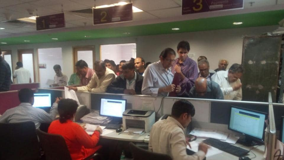 Although taxpayers can make payments till next week, long queues were seen at the citizen facilitation centres (CFCs) in Sector 34 and Civil Lines on Tuesday as people rushed to clear their dues.
