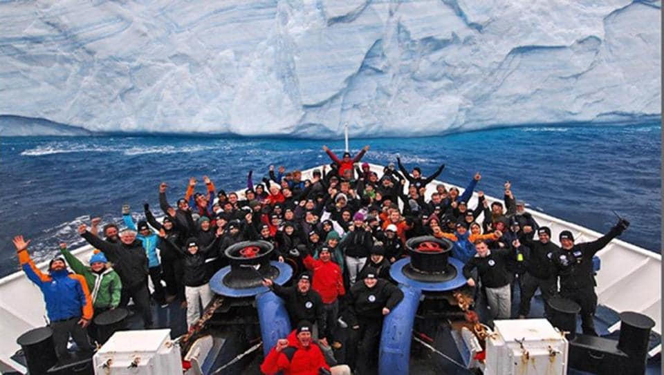 A file photo of the Antarctic expedition. This year two youths from Jaipur will join this expedition.