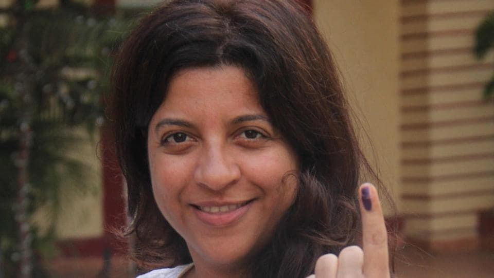 Filmmaker Zoya Akhtar at a booth at Mount Mary School in Bandra. (Pramod Thakur/HT PHOTO)