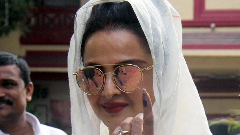 AT FINGER POINT: Actor Rekha was among the early birds. (Pramod Thakur/HT PHOTO)