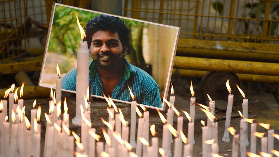 Rohith Vemula's first death anniversary at Jantar Mantar in New Delhi on January 17, 2017.