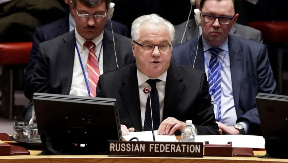 n this Thursday, Feb. 2, 2017, file photo, Russia's Ambassador to the U.N. Vitaly Churkin addresses a Security Council meeting at the United Nations.