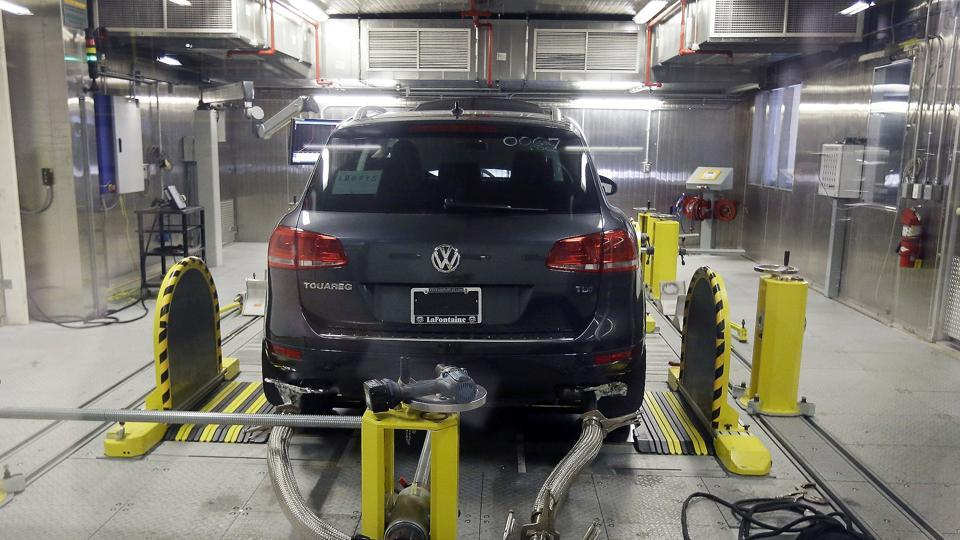 A Volkswagen Touareg diesel is tested in the Environmental Protection Agency's cold temperature test facility in Ann Arbor, Michigan.