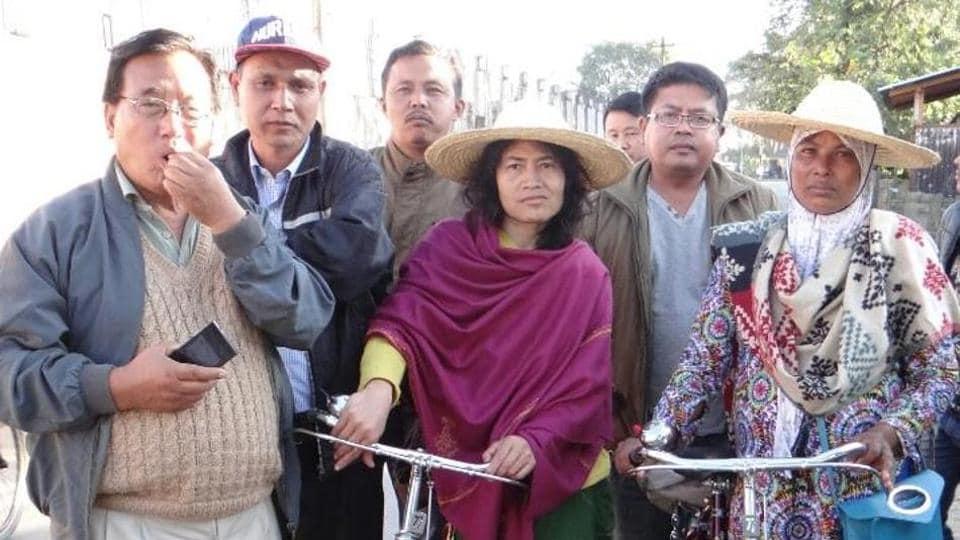 Human rights activist Irom Sharmila with Najma Habib (extreme right).